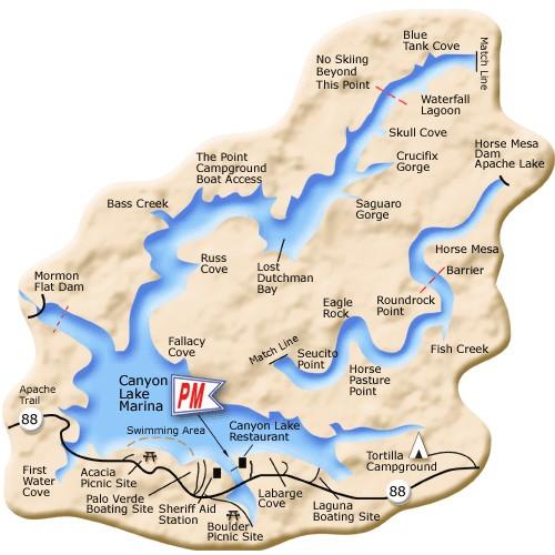 Phoenix arizona waterfront homes canyon lake map for Canyon lake az fishing